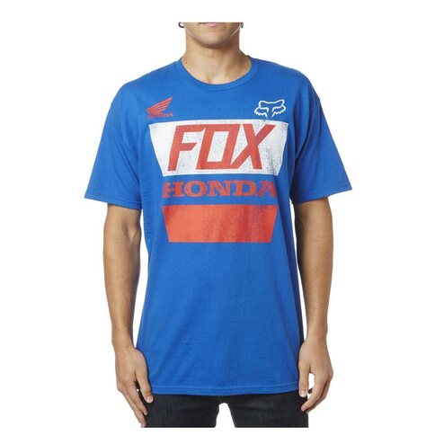 Fox Honda Distressed Basic T-Shirt Blau Rot XL